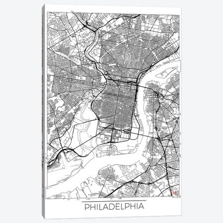 Philadelphia Minimal Urban Blueprint Map 3-Piece Canvas #HUR292} by Hubert Roguski Art Print