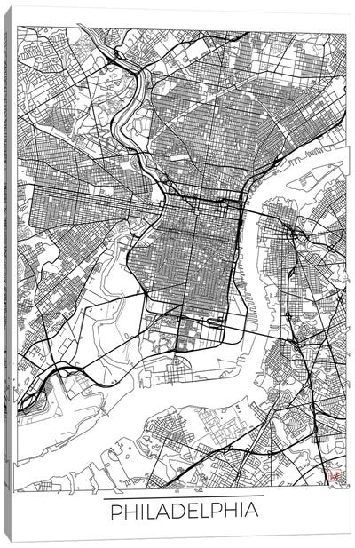 Philadelphia Minimal Urban Blueprint Map Canvas Art Print