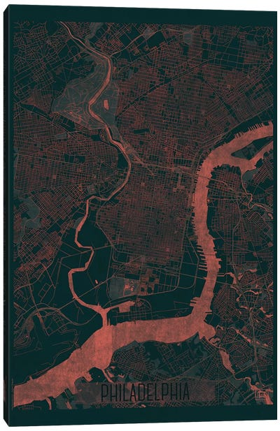 Philadelphia Infrared Urban Blueprint Map Canvas Art Print