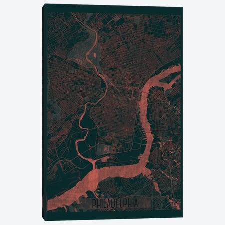 Philadelphia Infrared Urban Blueprint Map 3-Piece Canvas #HUR293} by Hubert Roguski Canvas Art Print