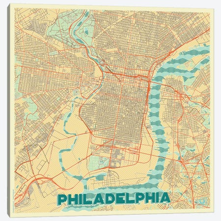 Philadelphia Retro Urban Blueprint Map Canvas Print #HUR294} by Hubert Roguski Canvas Art