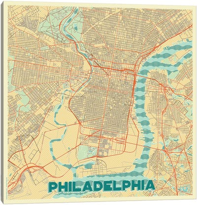 Philadelphia Retro Urban Blueprint Map Canvas Art Print