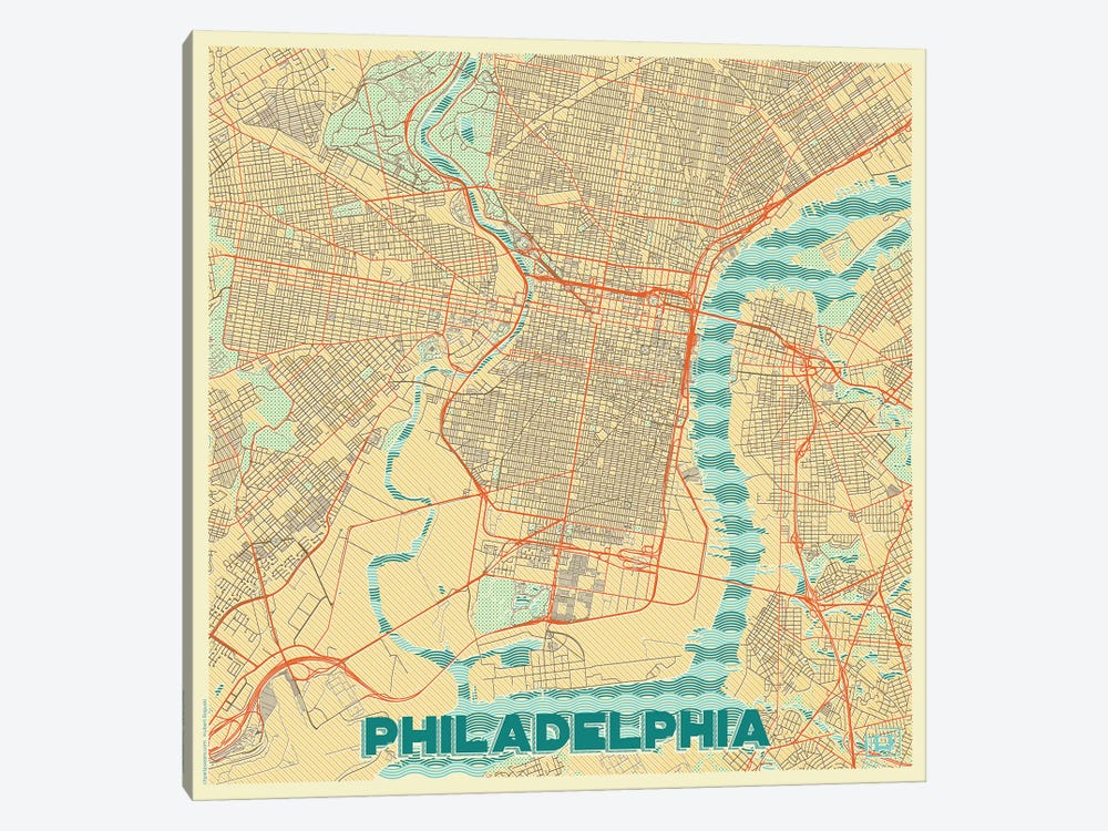 Philadelphia Retro Urban Blueprint Map by Hubert Roguski 1-piece Canvas Artwork