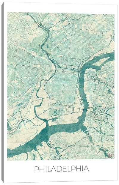 Philadelphia Vintage Blue Watercolor Urban Blueprint Map Canvas Art Print