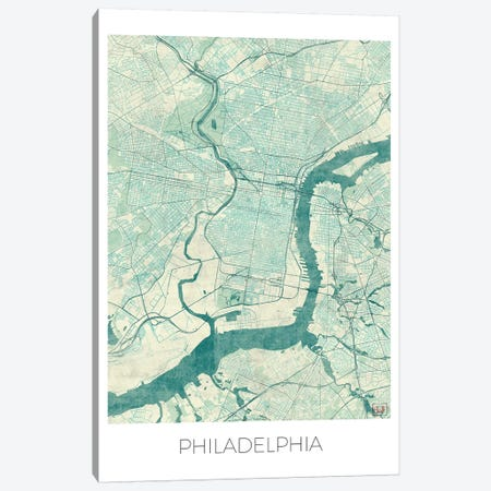 Philadelphia Vintage Blue Watercolor Urban Blueprint Map 3-Piece Canvas #HUR295} by Hubert Roguski Canvas Art