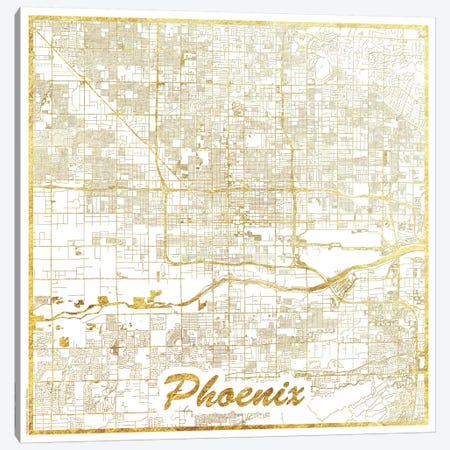 Phoenix Gold Leaf Urban Blueprint Map Canvas Print #HUR296} by Hubert Roguski Canvas Wall Art