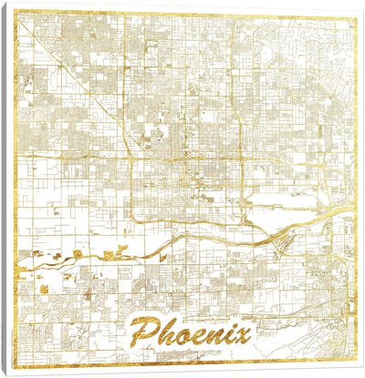 Phoenix Gold Leaf Urban Blueprint Map Canvas Art Print