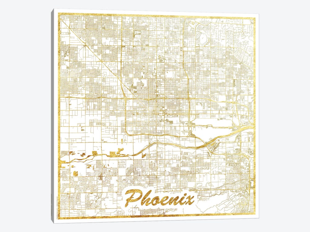 Phoenix Gold Leaf Urban Blueprint Map by Hubert Roguski 1-piece Canvas Artwork