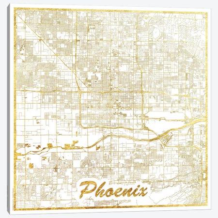 Phoenix Gold Leaf Urban Blueprint Map Canvas Print #HUR296} by Hubert Roguski Canvas Wall Art