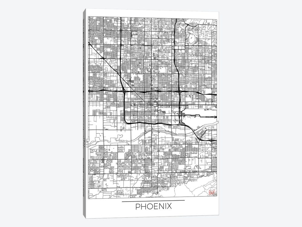 Phoenix Minimal Urban Blueprint Map by Hubert Roguski 1-piece Canvas Art Print