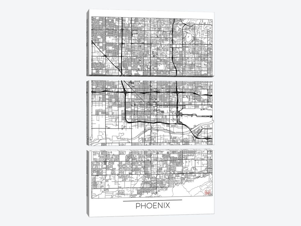 Phoenix Minimal Urban Blueprint Map by Hubert Roguski 3-piece Canvas Print