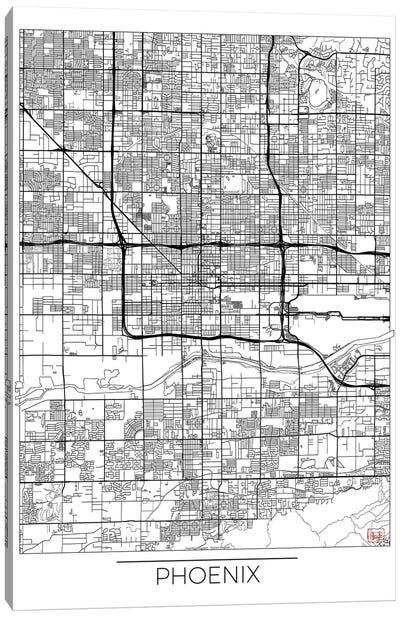 Phoenix Minimal Urban Blueprint Map Canvas Art Print