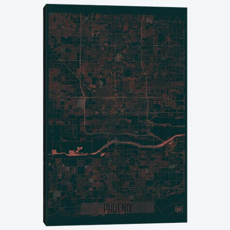 Phoenix Infrared Urban Blueprint Map Canvas Print #HUR298} by Hubert Roguski Art Print