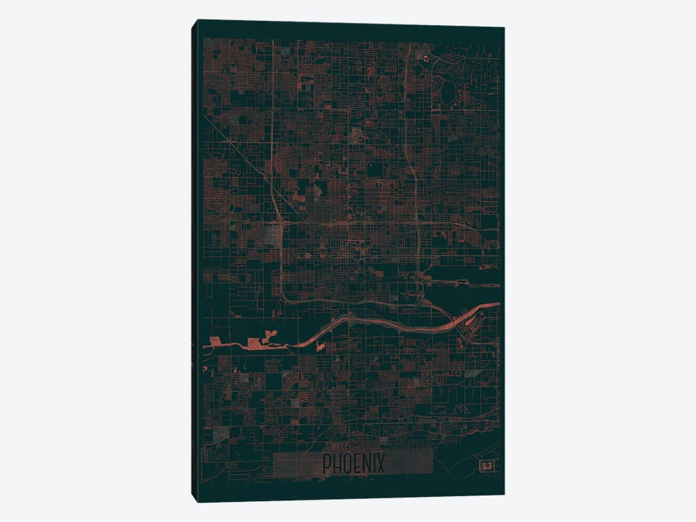 Phoenix Infrared Urban Blueprint Map by Hubert Roguski 1-piece Canvas Wall Art