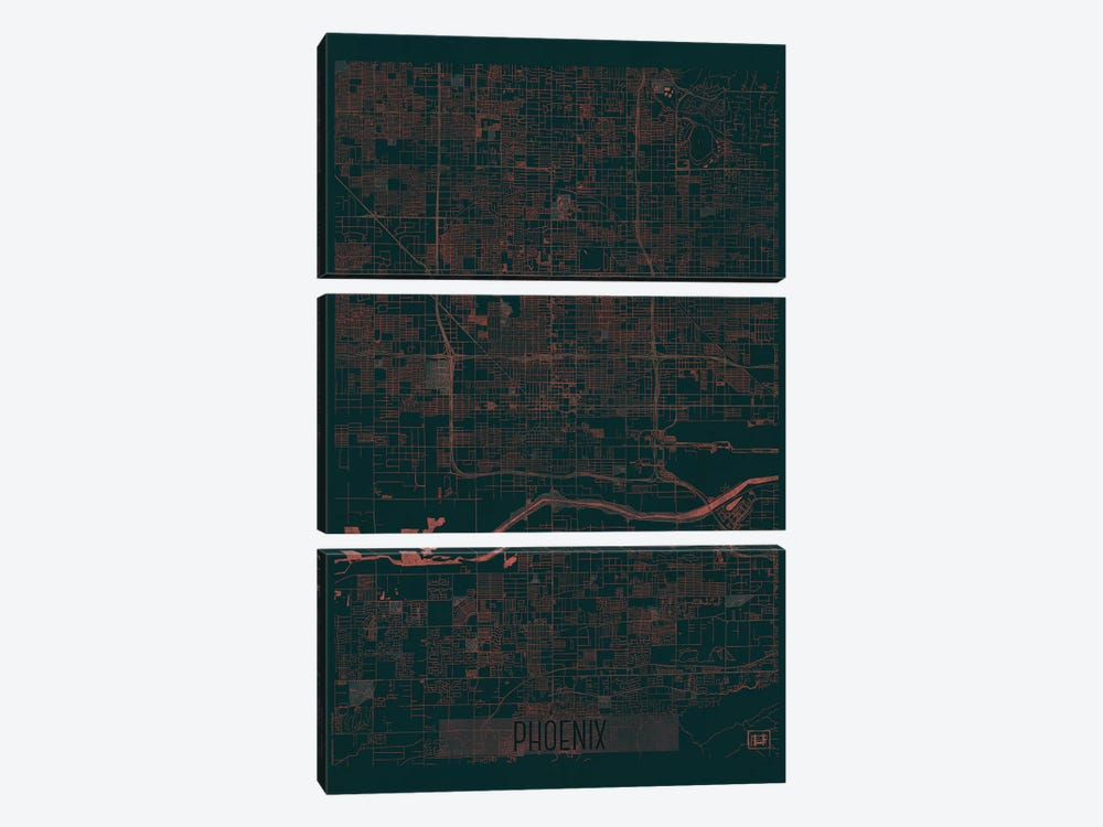 Phoenix Infrared Urban Blueprint Map 3-piece Canvas Wall Art
