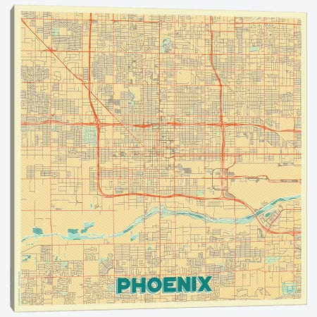 Phoenix Retro Urban Blueprint Map Canvas Print #HUR299} by Hubert Roguski Canvas Art Print