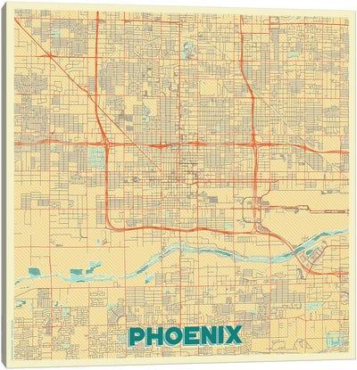 Phoenix Retro Urban Blueprint Map Canvas Art Print