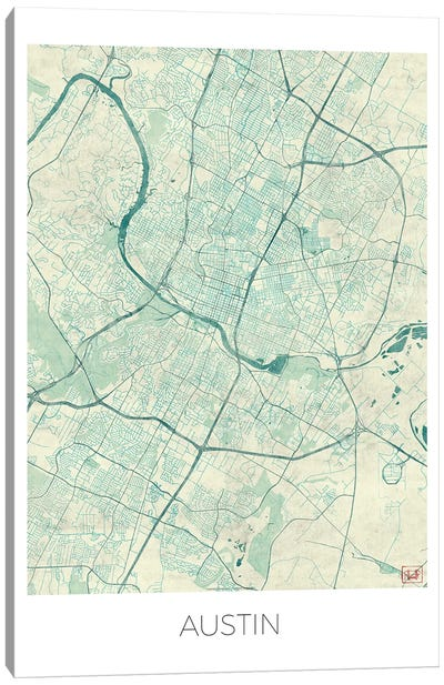 Austin Vintage Blue Watercolor Urban Blueprint Map Canvas Art Print