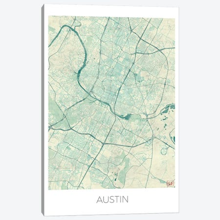 Austin Vintage Blue Watercolor Urban Blueprint Map Canvas Print #HUR29} by Hubert Roguski Canvas Print