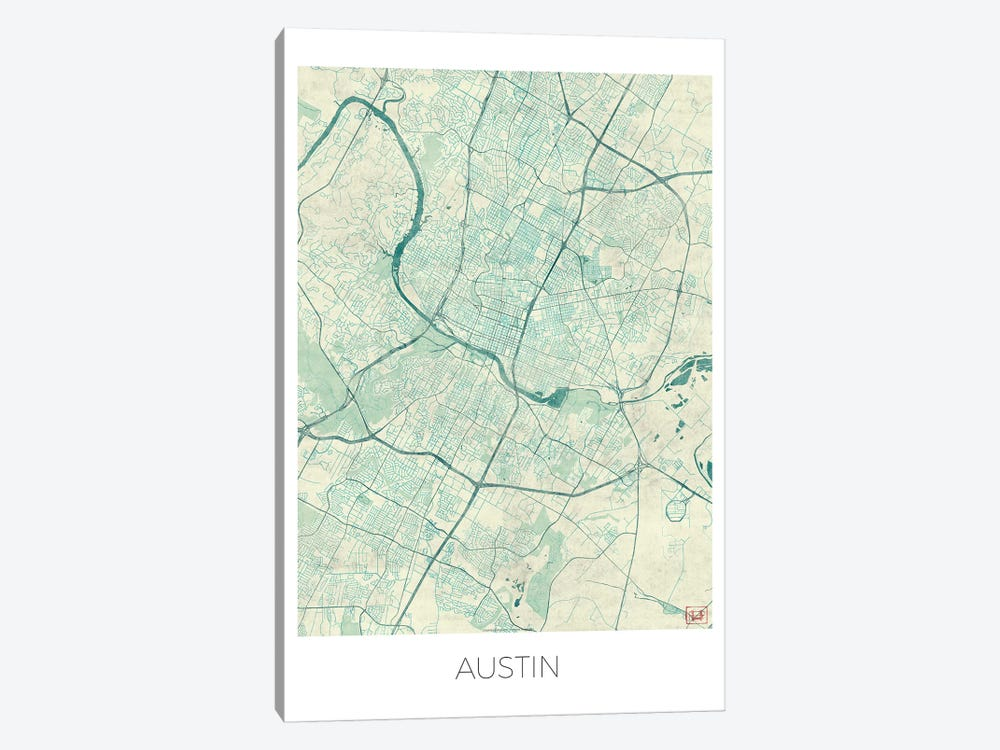 Austin Vintage Blue Watercolor Urban Blueprint Map by Hubert Roguski 1-piece Canvas Art Print