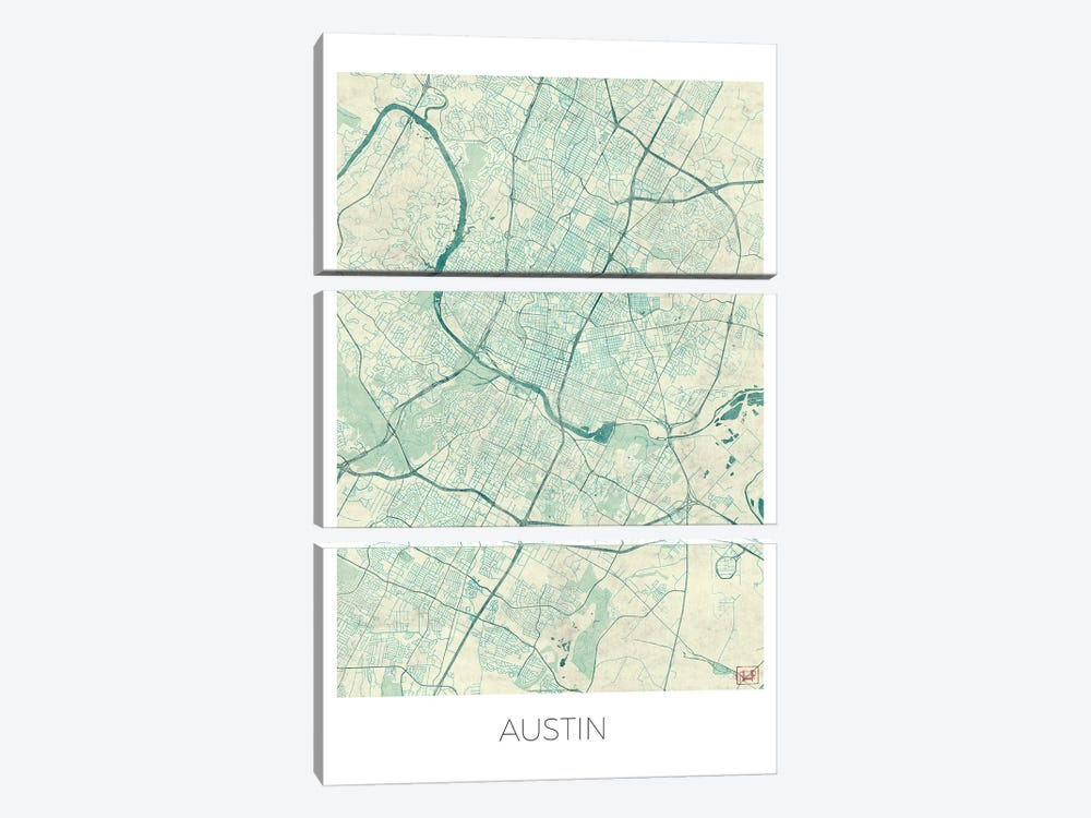 Austin Vintage Blue Watercolor Urban Blueprint Map by Hubert Roguski 3-piece Canvas Art Print