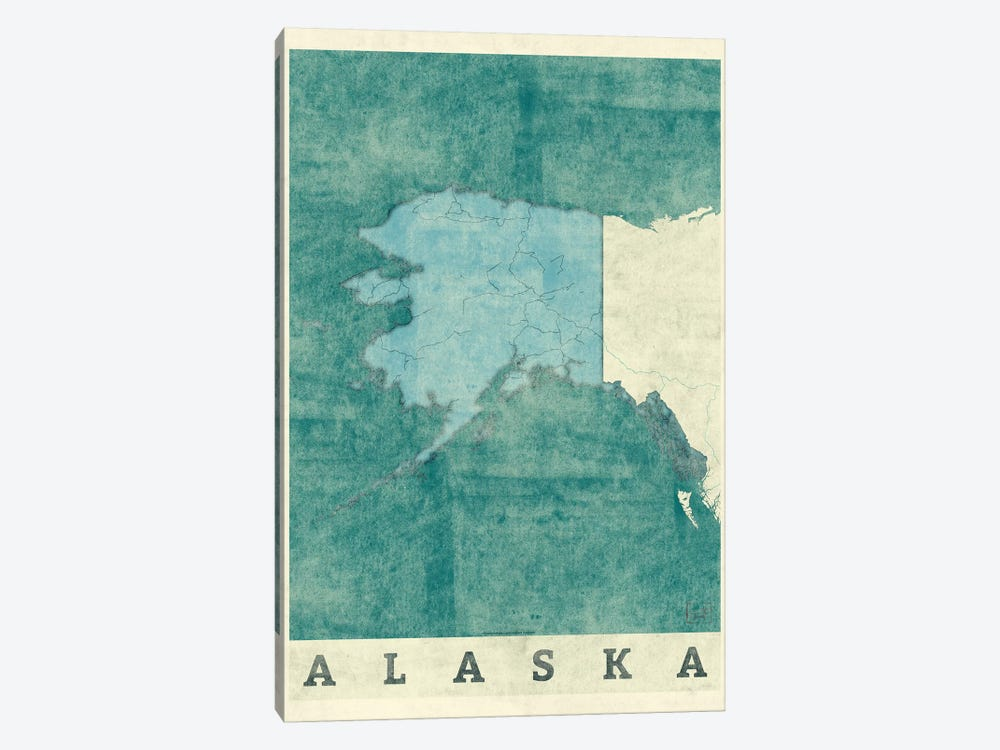 Alaska Map by Hubert Roguski 1-piece Art Print