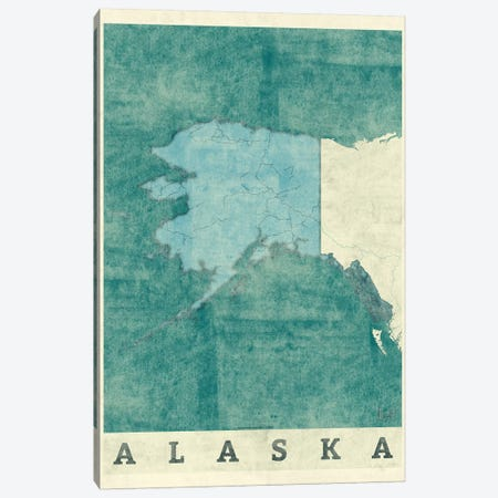 Alaska Map Canvas Print #HUR2} by Hubert Roguski Canvas Artwork