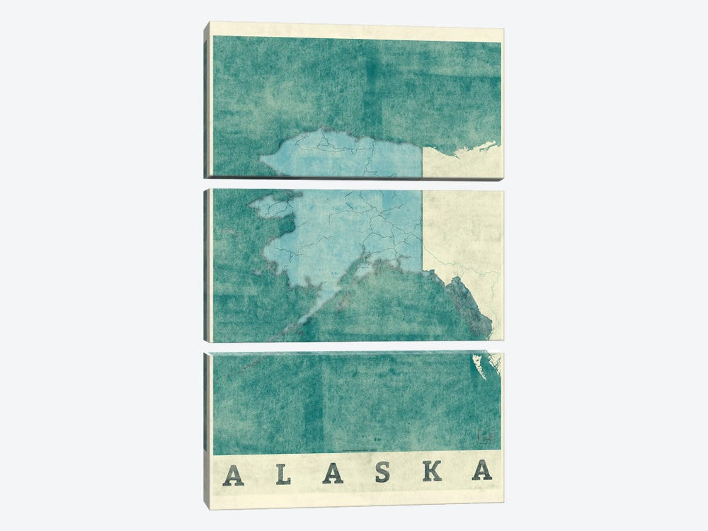 Alaska Map 3-piece Art Print