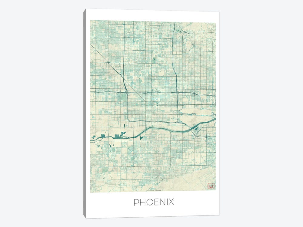 Phoenix Vintage Blue Watercolor Urban Blueprint Map 1-piece Canvas Artwork