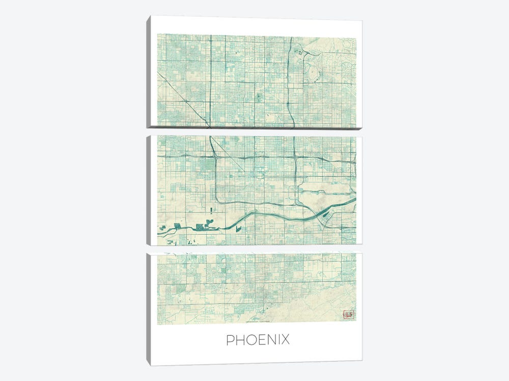 Phoenix Vintage Blue Watercolor Urban Blueprint Map 3-piece Canvas Wall Art