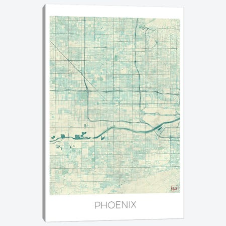 Phoenix Vintage Blue Watercolor Urban Blueprint Map Canvas Print #HUR300} by Hubert Roguski Art Print