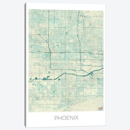 Phoenix Vintage Blue Watercolor Urban Blueprint Map Canvas Print #HUR300} by Hubert Roguski Art Print