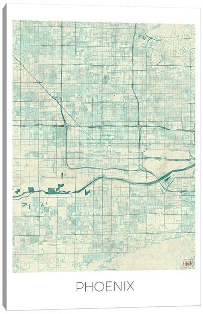 Phoenix Vintage Blue Watercolor Urban Blueprint Map Canvas Art Print
