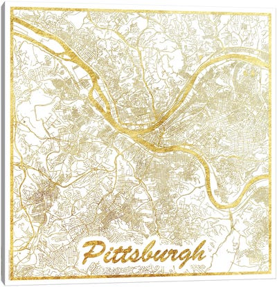 Pittsburgh Gold Leaf Urban Blueprint Map Canvas Art Print