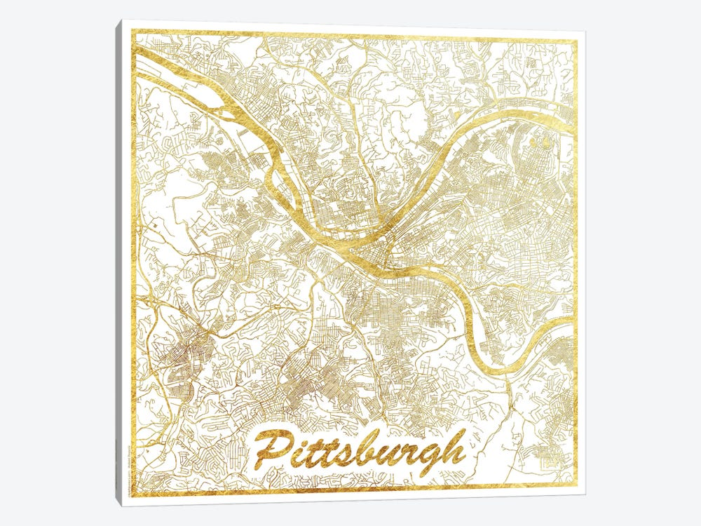 Pittsburgh Gold Leaf Urban Blueprint Map by Hubert Roguski 1-piece Canvas Art Print