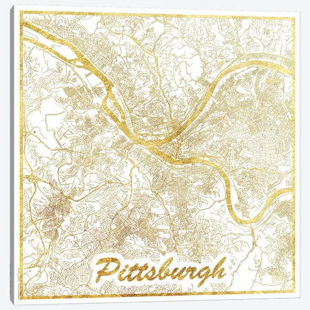 Pittsburgh Gold Leaf Urban Blueprint Map 3-Piece Canvas #HUR301} by Hubert Roguski Canvas Print