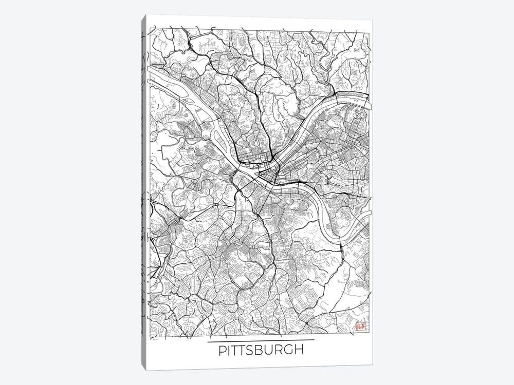 Pittsburgh Minimal Urban Blueprint Map by Hubert Roguski 1-piece Canvas Wall Art