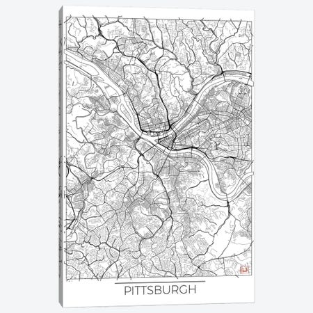 Pittsburgh Minimal Urban Blueprint Map 3-Piece Canvas #HUR302} by Hubert Roguski Canvas Art Print
