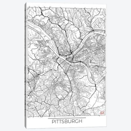 Pittsburgh Minimal Urban Blueprint Map Canvas Print #HUR302} by Hubert Roguski Canvas Art Print