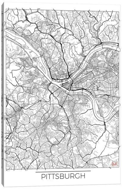 Pittsburgh Minimal Urban Blueprint Map Canvas Art Print