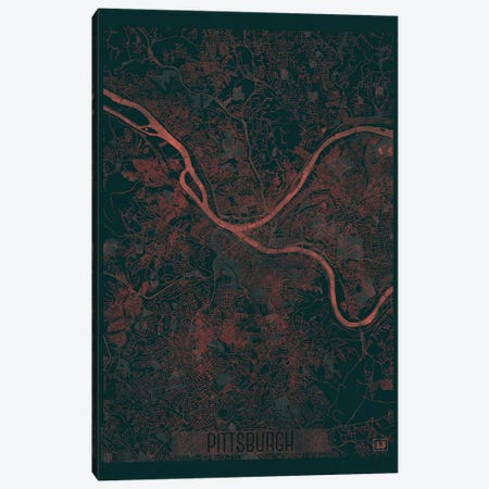 Pittsburgh Infrared Urban Blueprint Map Canvas Print #HUR303} by Hubert Roguski Canvas Print