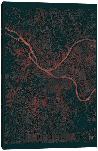 Pittsburgh Infrared Urban Blueprint Map Canvas Art Print