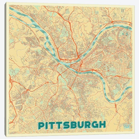 Pittsburgh Retro Urban Blueprint Map Canvas Print #HUR304} by Hubert Roguski Canvas Wall Art