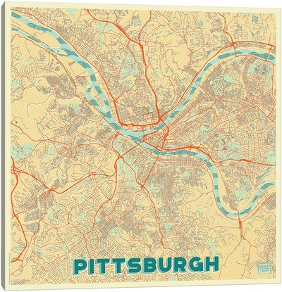Pittsburgh Retro Urban Blueprint Map Canvas Art Print