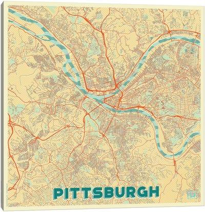 Pittsburgh Retro Urban Blueprint Map Canvas Art Print