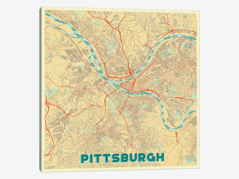 Pittsburgh Retro Urban Blueprint Map by Hubert Roguski 1-piece Canvas Wall Art