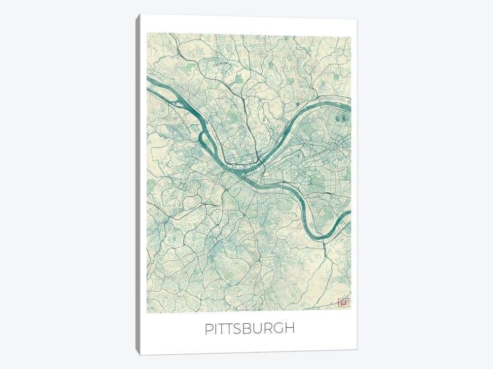 Pittsburgh Vintage Blue Watercolor Urban Blueprint Map by Hubert Roguski 1-piece Canvas Art Print
