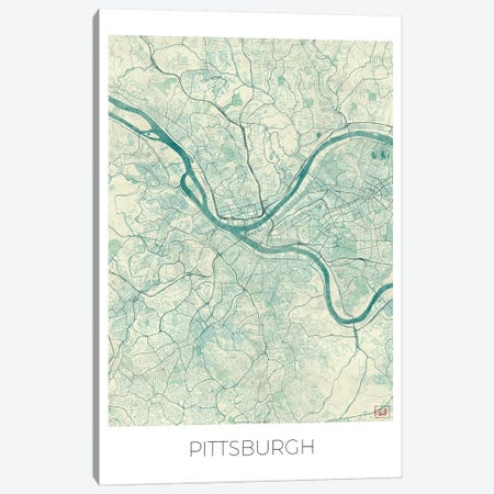 Pittsburgh Vintage Blue Watercolor Urban Blueprint Map Canvas Print #HUR305} by Hubert Roguski Canvas Art