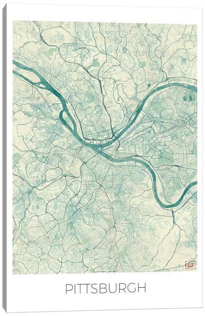 Pittsburgh Vintage Blue Watercolor Urban Blueprint Map Canvas Art Print
