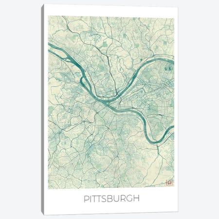 Pittsburgh Vintage Blue Watercolor Urban Blueprint Map Canvas Print #HUR305} by Hubert Roguski Canvas Art